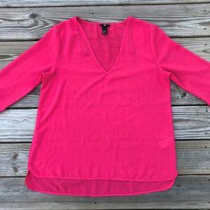 H&M Women Top Shirt Blouse Deep Pink Top Size 10US